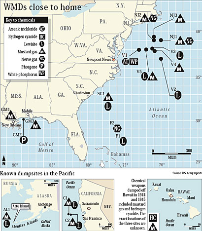 Map: Where the U.S. Army dumped chemicals in the ocean. From DailyPress.com
