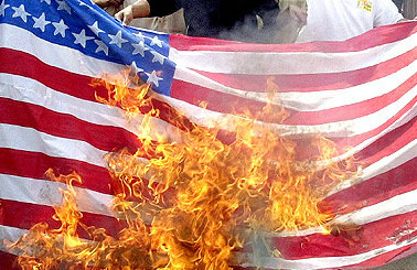 PHOTO: Burning US flag