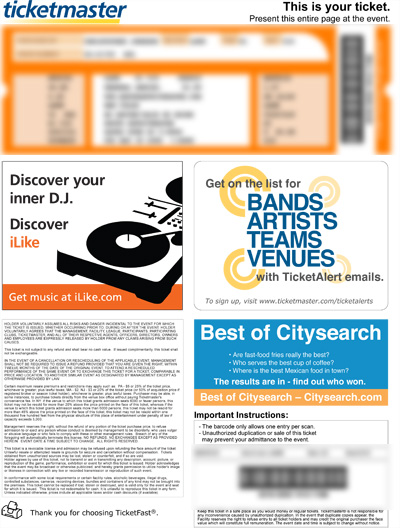 Ticketmaster TicketFast ticket with advertisements