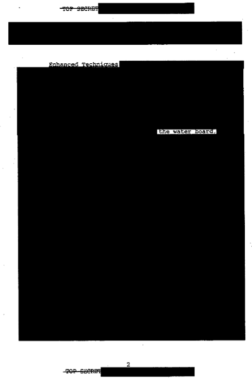 Page from heavily redacted torture document from the CIA
