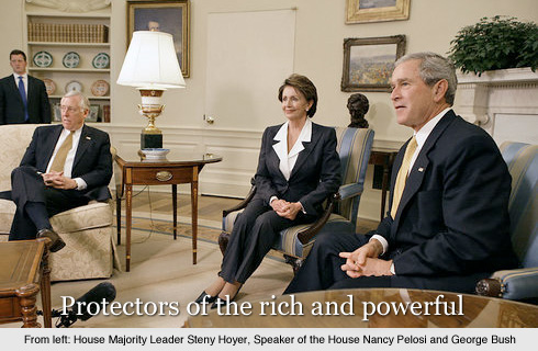 PHOTO: House leaders Hoyer and Pelosi with President Bush