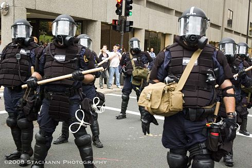 PHOTO: Police in riot gear at the RNC