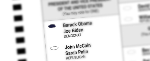 PHOTO: Ballot with a vote for Obama