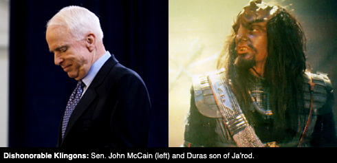 Dishonorable Klingons: Sen. John McCain (left) and Duras son of Ja'rod.