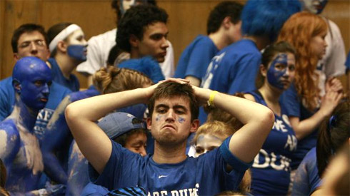 Sad Duke funs after they lost to UNC on Wednesday