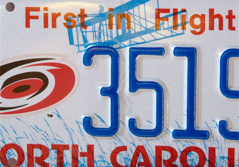 "North Carolina license plate ""First in Flight"""