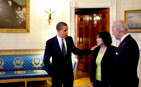 Judge Sonia Sotomayor with Obama and Biden