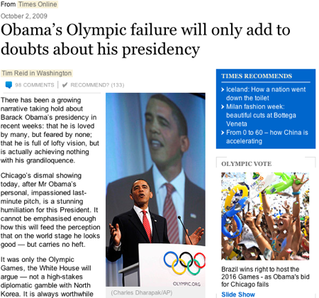 Headline: Obama's Olympic Failure will only add to doubts about his presidency