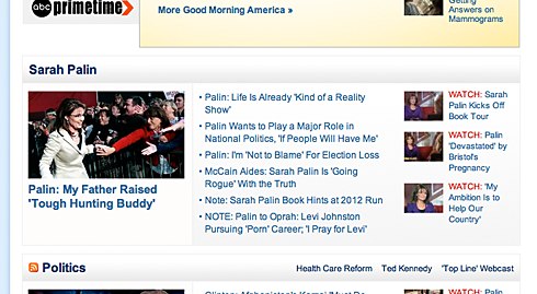 Sarah Palin section on ABC News