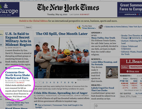 NY Times US frontpage