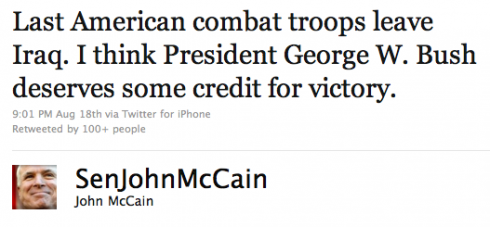John McCain declares victory in Iraq on Twitter